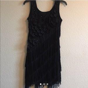black 1920's flapper dress